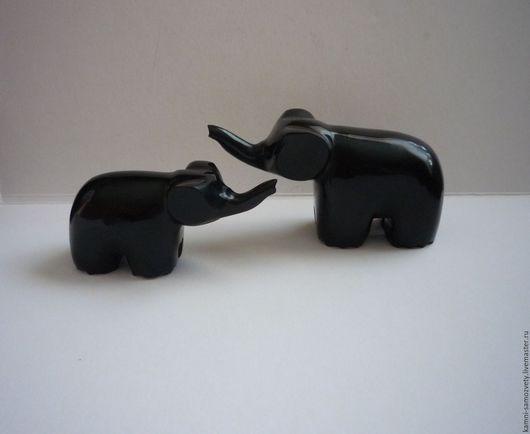 Статуэтки ручной работы. Ярмарка Мастеров - ручная работа. Купить Слоны из гагата. Handmade. Черный, слон из камня, статуэтки слонов