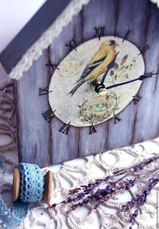 """Часы для дома ручной работы. Ярмарка Мастеров - ручная работа. Купить Часы """"Птичий домик"""". Handmade. Часы, птичка"""