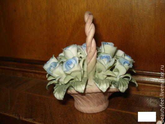 Винтажные предметы интерьера. Ярмарка Мастеров - ручная работа. Купить фарфор корзинка с цветами Италия к 8 марта. Handmade. Голубой
