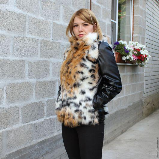 Верхняя одежда ручной работы. Ярмарка Мастеров - ручная работа. Купить Куртка экомех + кожзам. Handmade. Комбинированный, экокожа