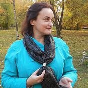 """Аксессуары ручной работы. Ярмарка Мастеров - ручная работа Шелковый шарф с ручной росписью """"Черный жемчуг"""" с зажимом  кольцо. Handmade."""