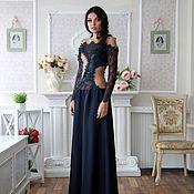 Одежда ручной работы. Ярмарка Мастеров - ручная работа Вечернее платье из натуральной кожи, кружева и шелка. Handmade.