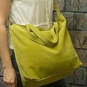 Green salad tote bag Сумка шоппер из натуральной кожи салатовая