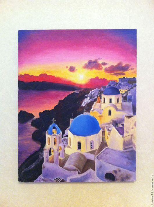 Романтическое настроение и ностальгия! Закат на Санторини!Ручная работа, масло, холст.