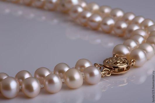 Двойное ожерелье из жемчуга 6.5 мм, замочек из золота 585 пробы. LyuPearls
