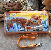 """Кошельки ручной работы. Ярмарка Мастеров - ручная работа Кошелек с рисунком""""Рыжий кот""""натуральная кожа оранж. Handmade."""