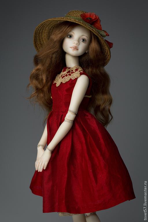 """Коллекционные куклы ручной работы. Ярмарка Мастеров - ручная работа. Купить Шарнирная фарфоровая кукла """"Девочка в красном"""". Handmade."""
