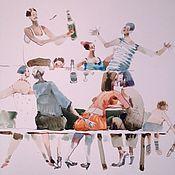 """Картины и панно ручной работы. Ярмарка Мастеров - ручная работа Акварель """" А мы тут не скучаем"""". Handmade."""