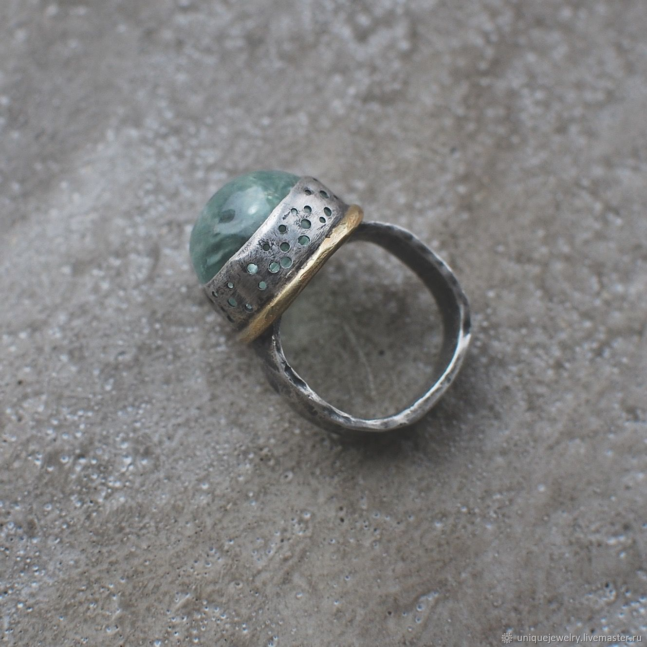 Beryl ring, silver and brass, Rings, Moscow,  Фото №1