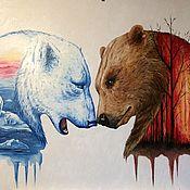 Картины и панно ручной работы. Ярмарка Мастеров - ручная работа Медведи. Handmade.
