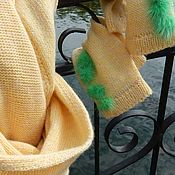 Аксессуары handmade. Livemaster - original item Yellow knitted scarf and mittens with POM-poms. Handmade.