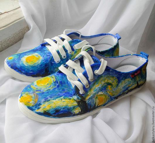 """Обувь ручной работы. Ярмарка Мастеров - ручная работа. Купить Кеды """"Ван Гог. Звездная ночь"""", роспись кед, кеды с рисунком.. Handmade."""