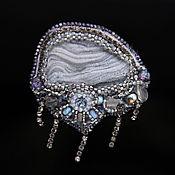 Украшения handmade. Livemaster - original item Grey agate pendant brooch. Handmade.