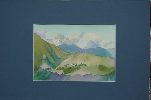 Пейзаж ручной работы. Ярмарка Мастеров - ручная работа. Купить Горы в Дхарамсале. Handmade. Голубой, горы, индия, акварель