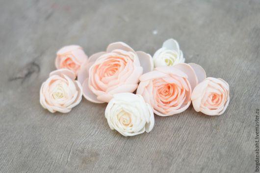 """Заколки ручной работы. Ярмарка Мастеров - ручная работа. Купить коллекция """"Дева роз"""" - украшения для волос. Handmade. Бежевый, цветы"""
