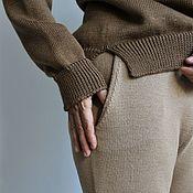Брюки ручной работы. Ярмарка Мастеров - ручная работа Брюки с карманами вязаные брюки бежевые. Handmade.