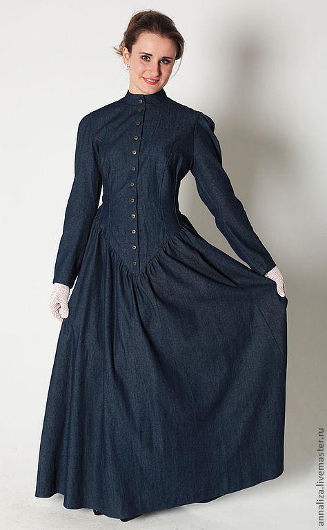 """Платья ручной работы. Ярмарка Мастеров - ручная работа. Купить Платье """"Леди Джейн"""". Handmade. Синий, платье по фигуре"""