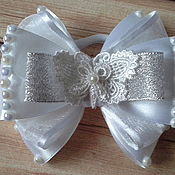 Работы для детей, handmade. Livemaster - original item Dressy white silver bow with butterfly. Handmade.