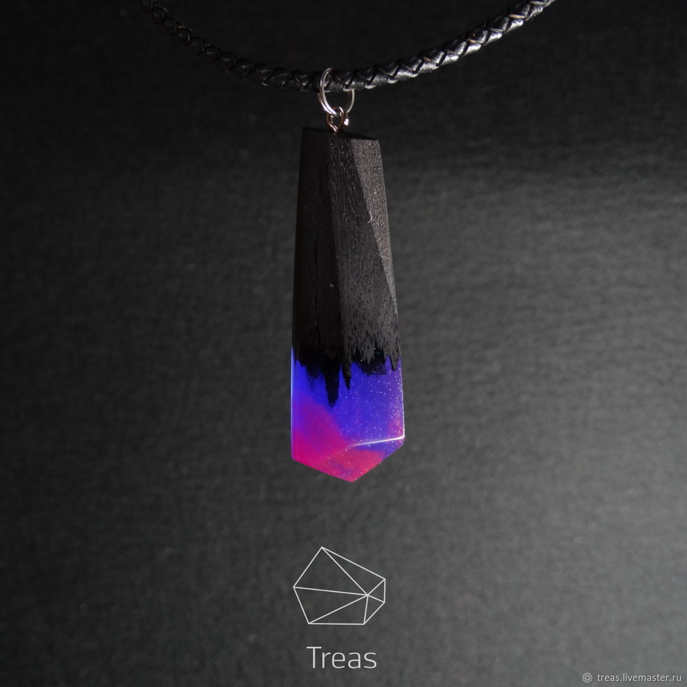 "Bamboo Clothing Noosa: Pendant ""Northern Lights"" Made Of Black Hornbeam And Resin"