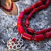 Украшения ручной работы. Ярмарка Мастеров - ручная работа Серебро и кораллы натуральные колье коралловые бусы красные. Handmade.