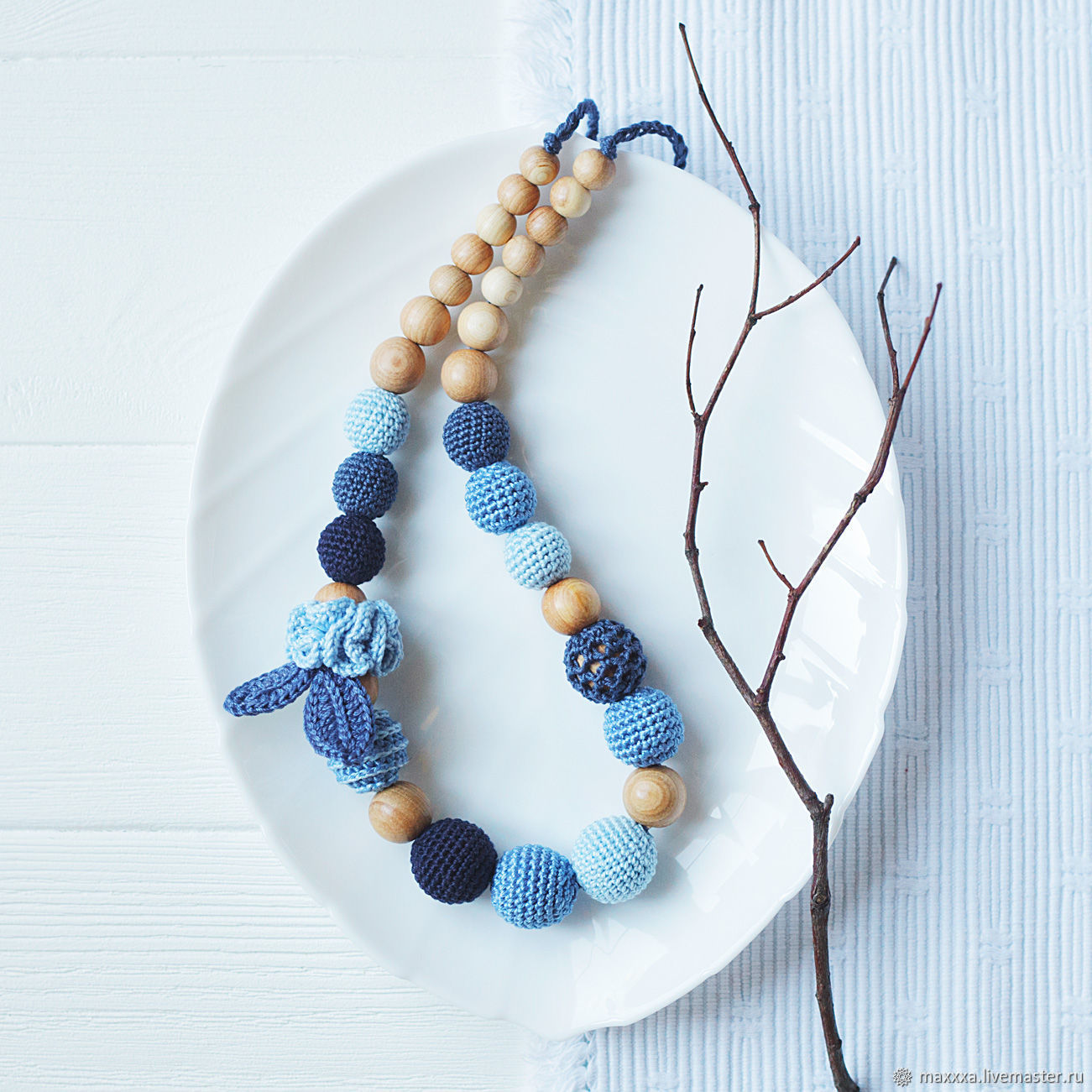 Teething Necklaces handmade. Livemaster - handmade. Buy Slingobusy 'Jeans Symphony' blue juniper with blue beads.Boho style