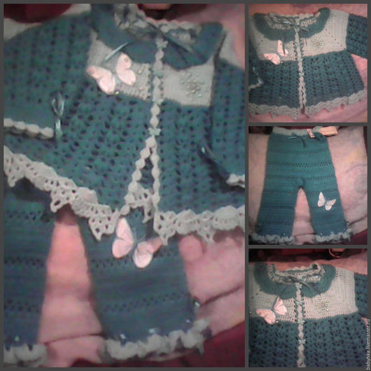 Одежда для девочек, ручной работы. Ярмарка Мастеров - ручная работа. Купить комплект. Handmade. Тёмно-бирюзовый, детский акрил