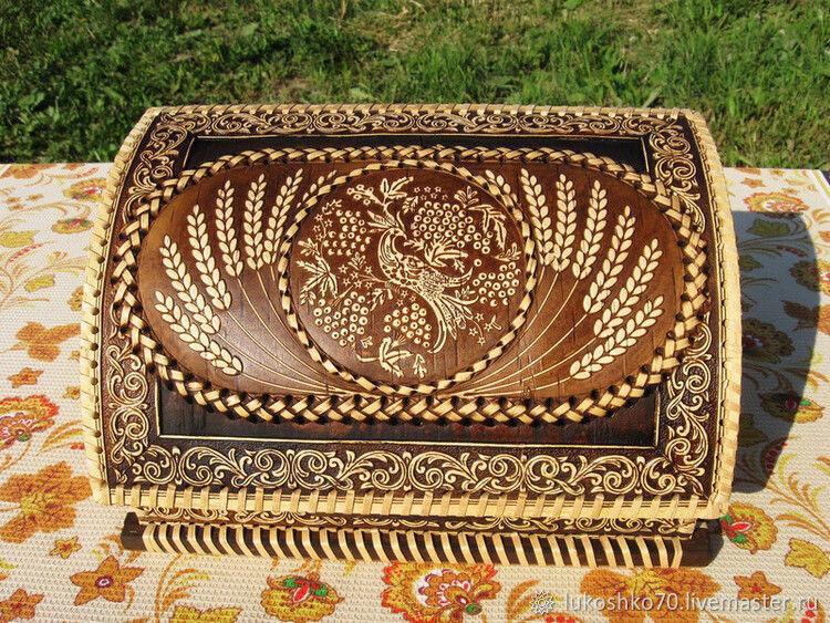 A bread box of birch bark 'the Firebird'. Bread box with a pattern, The bins, Tomsk,  Фото №1
