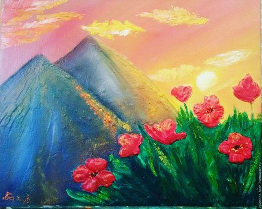 """Пейзаж ручной работы. Ярмарка Мастеров - ручная работа. Купить """"Горы"""". Handmade. Комбинированный, картина в подарок, пейзаж с цветами"""