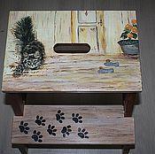 "Табуреты ручной работы. Ярмарка Мастеров - ручная работа Табурет-лесенка ""хитрый кот"". Handmade."