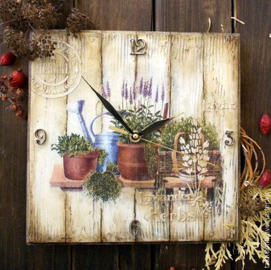 "Часы для дома ручной работы. Ярмарка Мастеров - ручная работа. Купить Часы ""Пряные травы. Лаванда."". Handmade. Разноцветный"