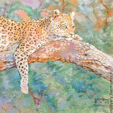 Картины и панно ручной работы. Ярмарка Мастеров - ручная работа Картина пастелью Королева джунглей (леопард, мятный, оранжевый). Handmade.
