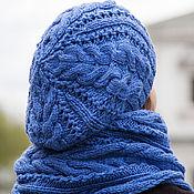 Аксессуары ручной работы. Ярмарка Мастеров - ручная работа Комплект вязаный женский шапка снуд (васильковый, синий, голубой). Handmade.