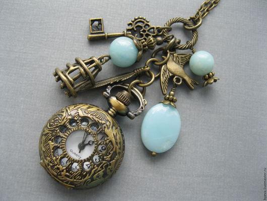 Часы ручной работы. Ярмарка Мастеров - ручная работа. Купить Часы кулон голубой амазонит.. Handmade. Часы, часы кулон