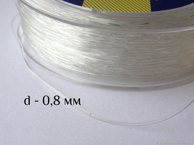 Силиконовая нить для браслетов, 0,8 мм, прозрачная, Шнуры, Пермь,  Фото №1