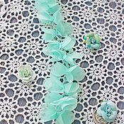 Материалы для творчества ручной работы. Ярмарка Мастеров - ручная работа Шифоновые  (светло бирюзовые) цветочки на сетчатой ленте. 3D кружево. Handmade.