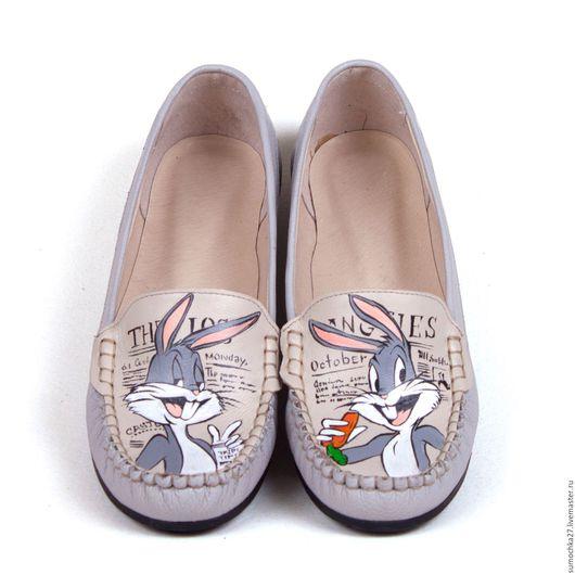 """Обувь ручной работы. Ярмарка Мастеров - ручная работа. Купить Мокасины """"Багз Банни"""". Handmade. Серый, обувь ручной работы"""