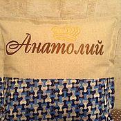 Для дома и интерьера ручной работы. Ярмарка Мастеров - ручная работа Именная подушка. Handmade.