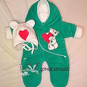 """Комбинезоны ручной работы. Ярмарка Мастеров - ручная работа Комбинезон-конверт для новорожденного """"Мишка Тедди"""" изумрудный. Handmade."""