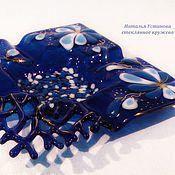 Для дома и интерьера handmade. Livemaster - original item Plate ashtray glass Blue luxury 2, fusing, painting angry. Handmade.
