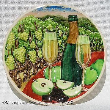 """Картины и панно ручной работы. Ярмарка Мастеров - ручная работа """"Шампанское с яблоками"""" декоративное панно из керамики. Handmade."""