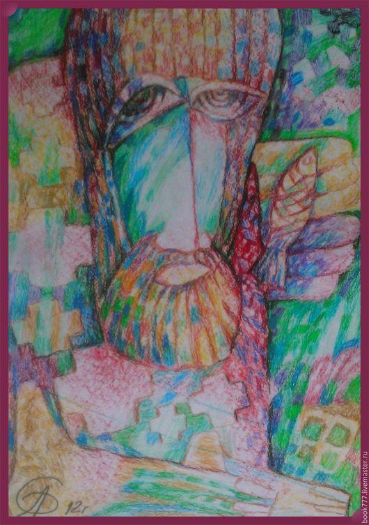 Символизм ручной работы. Ярмарка Мастеров - ручная работа. Купить молящийся Петр. Handmade. Тёмно-бирюзовый, Картины и панно, Библия