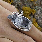 Кольца ручной работы. Ярмарка Мастеров - ручная работа Серебряное кольцо с моховым агатом ручной работы. Handmade.