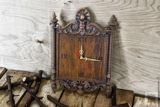Часы для дома ручной работы. Ярмарка Мастеров - ручная работа. Купить Резные часы. Handmade. Коричневый, часы ручной работы
