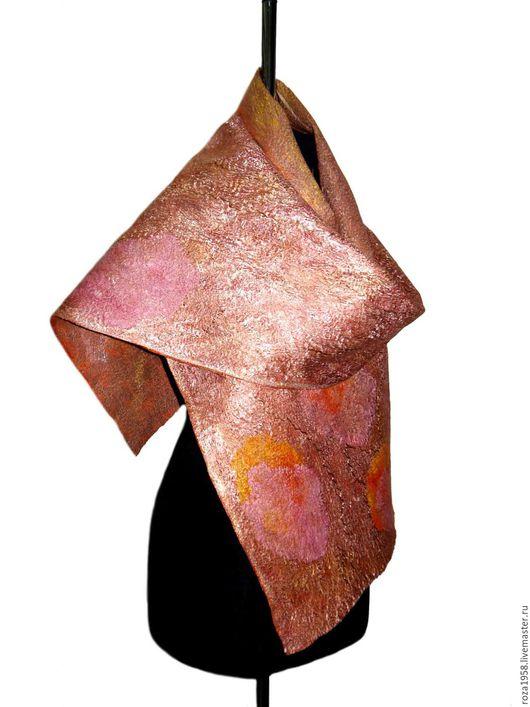 Шали, палантины ручной работы. Ярмарка Мастеров - ручная работа. Купить Палантин женский валяный .Рыжий.. Handmade. Золотой