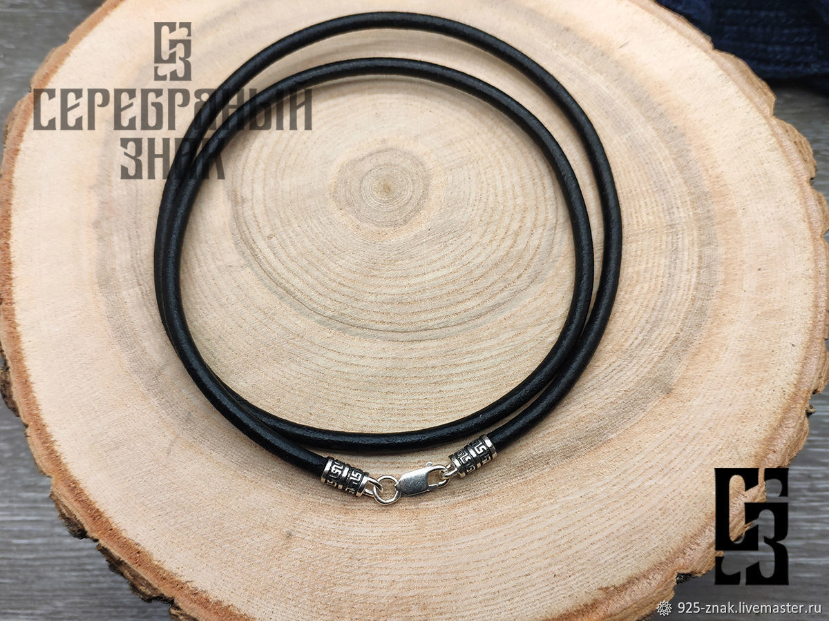 Gaitan 4mm 925 Silver. Natural thick leather, Necklace, St. Petersburg,  Фото №1