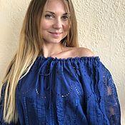 Одежда handmade. Livemaster - original item Dress iris blue cotton embroidery and lace. Handmade.