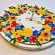 """Часы для дома ручной работы. Ярмарка Мастеров - ручная работа. Купить Часы """"Цветная лужайка"""", фьюзинг стекло. Handmade. цветочный"""