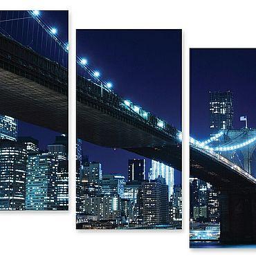 """Картины и панно ручной работы. Ярмарка Мастеров - ручная работа Модульная картина """"Ночной мост"""". Handmade."""