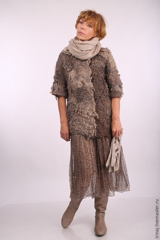 """Верхняя одежда ручной работы. Ярмарка Мастеров - ручная работа. Купить валяное пальто """"Natural brown"""". Handmade. Бохо, пальто"""