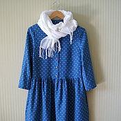 Платья ручной работы. Ярмарка Мастеров - ручная работа Платье льняное Синее в горошек платье женское. Handmade.